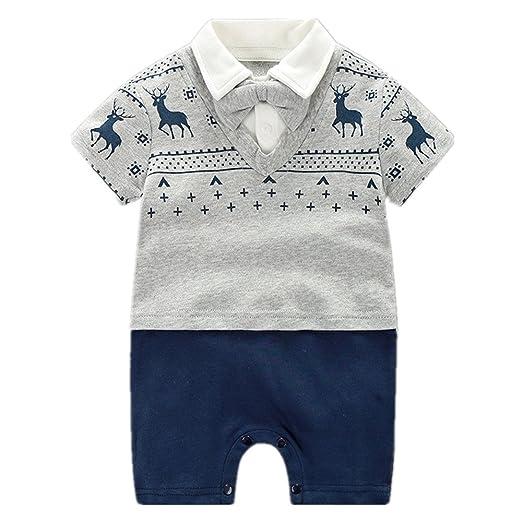 ed3ed38b9bca Amazon.com  Yierying Baby Boy Rompers Gentleman Jumpsuits Soft Short ...