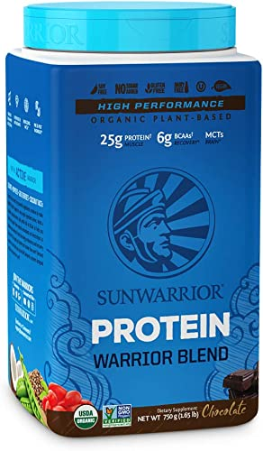 Sunwarrior Warrior Blend, Organic Vegan Protein Powder with BCAAs and Pea Protein Chocolate, 30 Servings