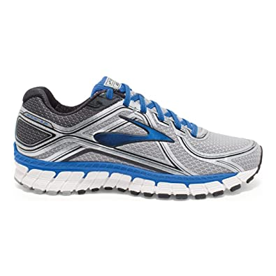 Brooks Men's Adrenaline GTS 16 Silver/Electric Brooks Blue/Black Sneaker 7  EE -