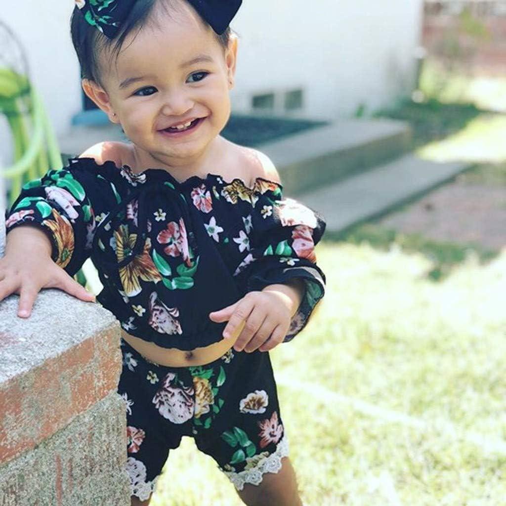 Efaster Toddler Baby Girl Off Shoulder Floral Print Tops T-Shirt+Shorts+Headbands Clothes Outfit Set 0-24 Months