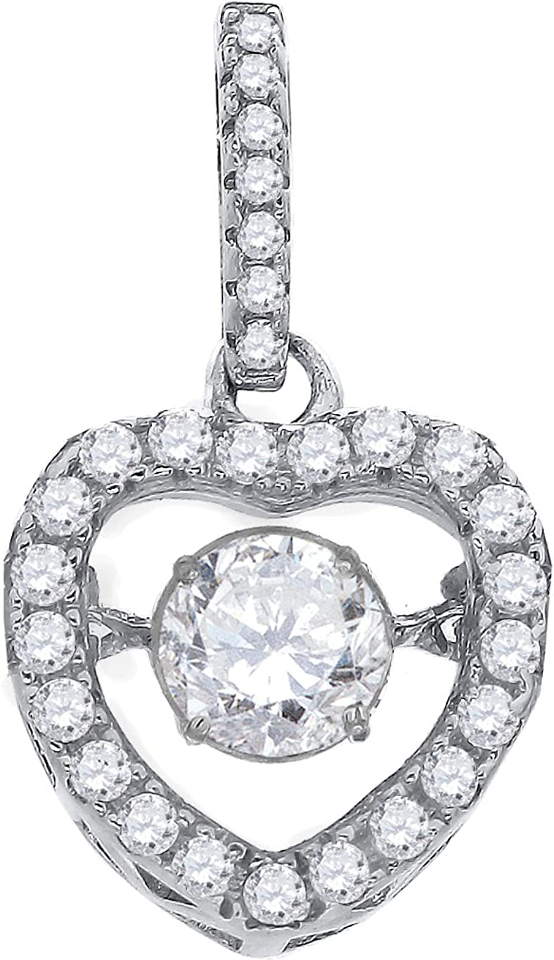 FB Jewels 925 Sterling Silver Womens Sparkling CZ in Heart Key Pendant Charm