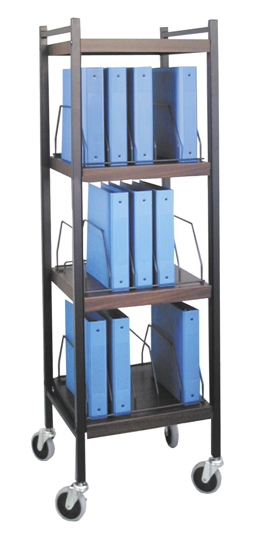 Mini Open Chart Rack 4 Shelves 15 Binder Capacity (Woodgrain)