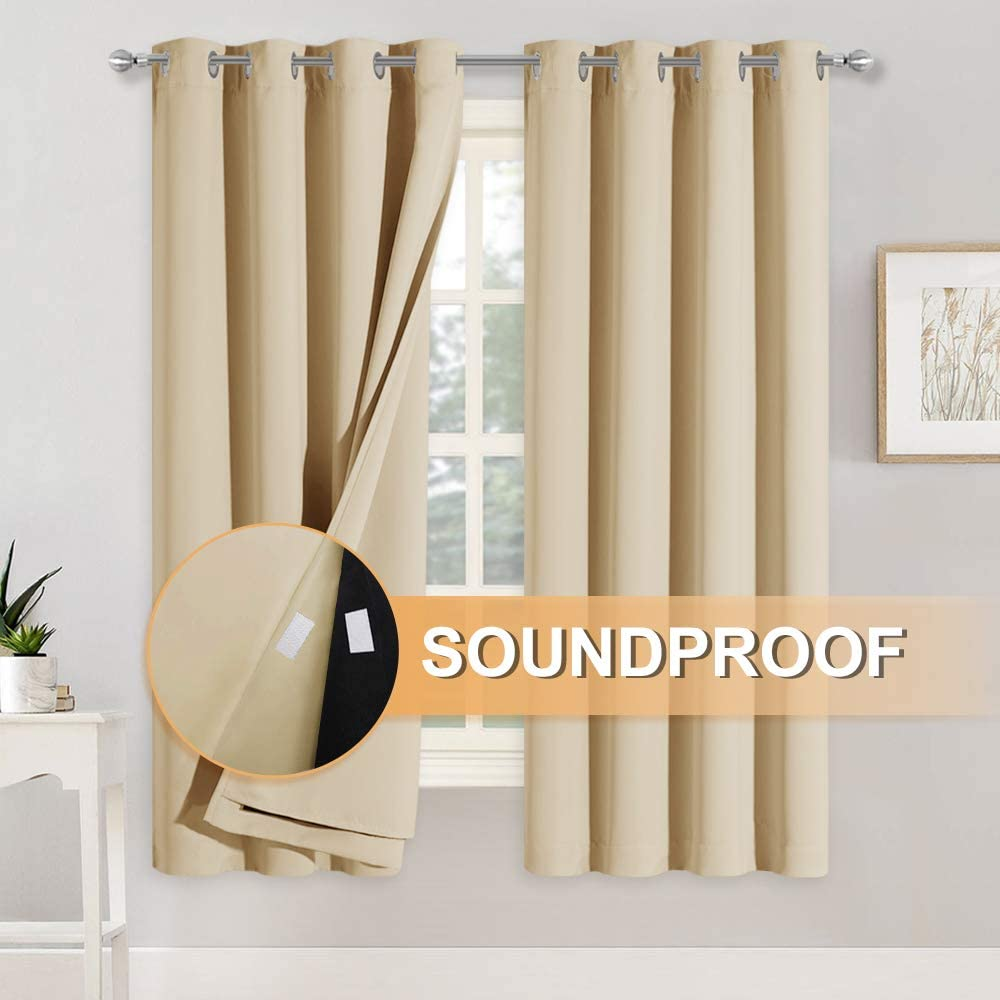 Amazon Com Ryb Home Soundproof Curtains For Bedroom 100 Light Block Noise Reducing Curains Grommet 3 Layers Inside Detachable Felt Liner Acoustic Drapes For Living Room Bedroom Biscotti Beige 1 Pair Furniture Decor