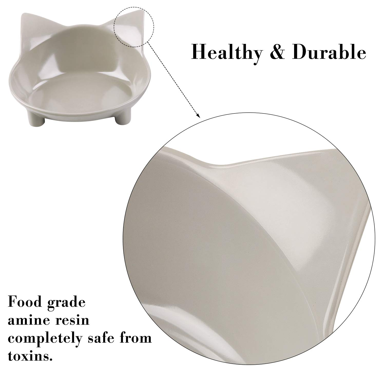 Legendog 3Pcs Cat Bowls Anti-Slip Cat Food Bowls Multi-Purpose Cat Dish Pet Feeding Bowl Cat Water Bowl (Black& White& Grey)