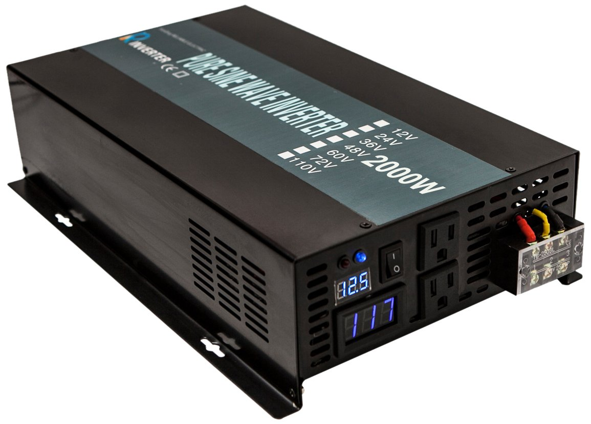 WZRELB LED Display 2000w Rated Power 4000W Peak Power 24Vdc to 120Vac True Pure Sine Wave Solar Power Inverter for Home or Office Power Converter, (RBP200024B1)