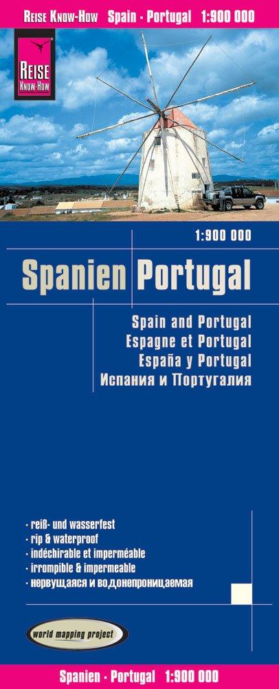 España & Portugal 1:900.000 mapa de carreteras impermeable. Reise ...