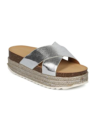2f7c15e59141 Indulge Heartthentic Gaby-01 Women Metallic Leatherette Platform Espadrille  Slide HE03 - Silver Metallic (