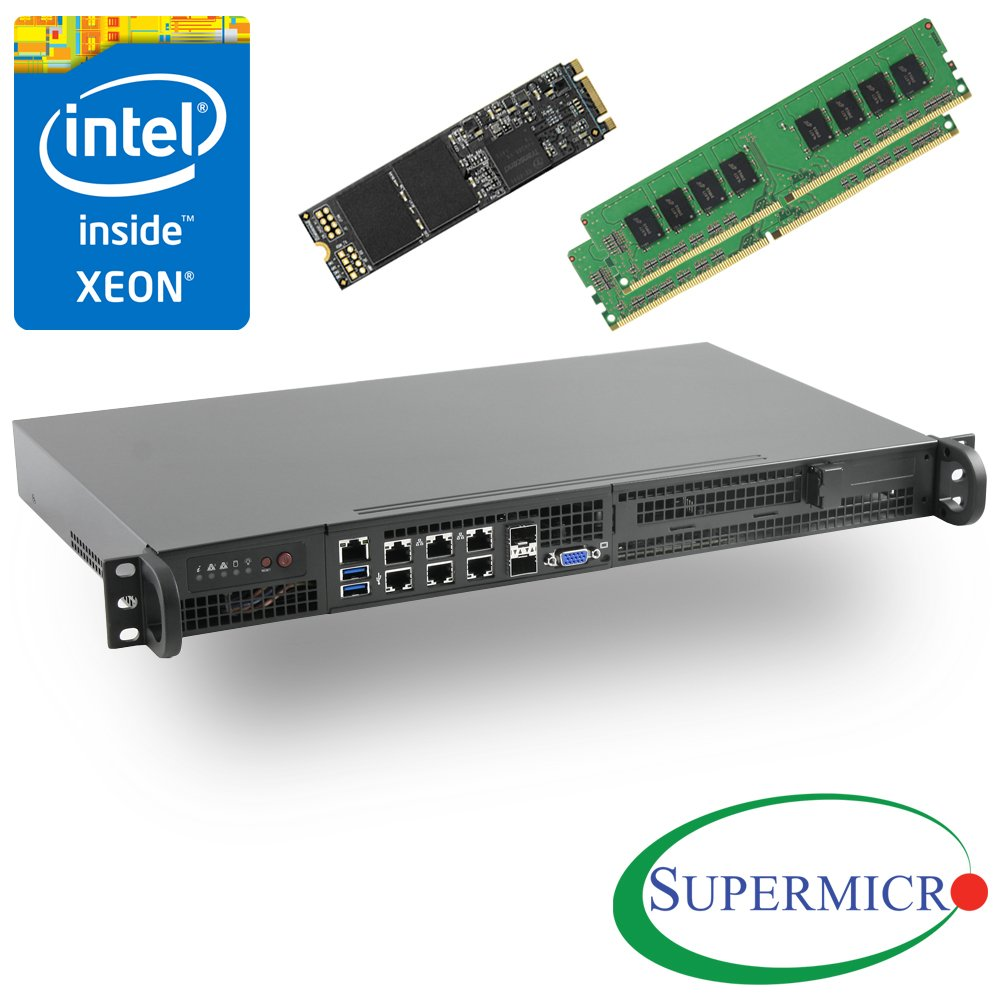 Supermicro SuperServer 5018D-FN8T Xeon D 1U Rackmount,10GbE,SFP+,32GB & 256GB M.2 by MITXPC