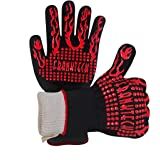 BBQ Gloves Oven Mitt,Hand Protection from Grilling,Barbeque,Fires,Microwave Oven and Other Hot Work in Kitchen,Outdoor Camping and Garden Party,Heat and Flame Resistant up to 932°F Black Aramid Fibre Nomex with Sillicon Salient Points 1 Pair with 29cm or 33 cm long (Red)