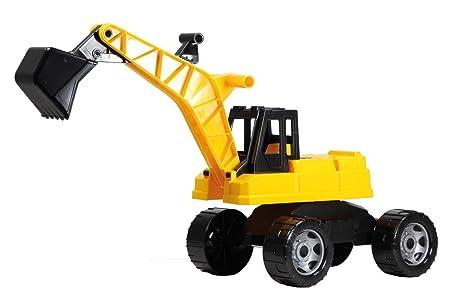 Lena 02047 - Starke Riesen Bagger, Baufahrzeug ca. 70cm, Giga Truck Schaufelbagger mit 2 Stahlachsen, großer Spielzeugbagger