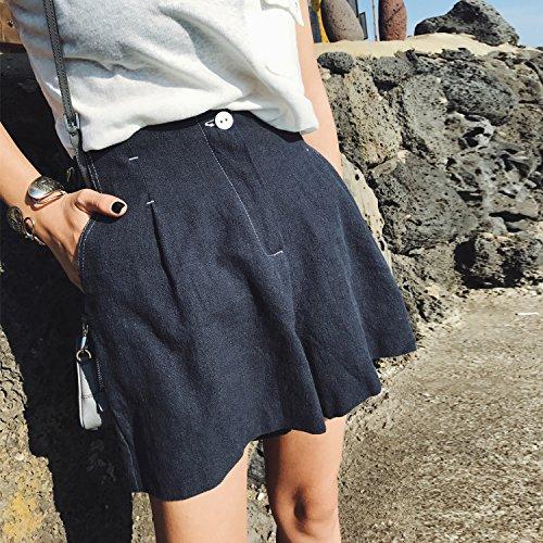 Alta Pantalones Femeninos Azul Cintura Señoras Ocasionales Faldas Algodón Anchos Yyjzjw Mujeres De Cortos zFwA11xqB