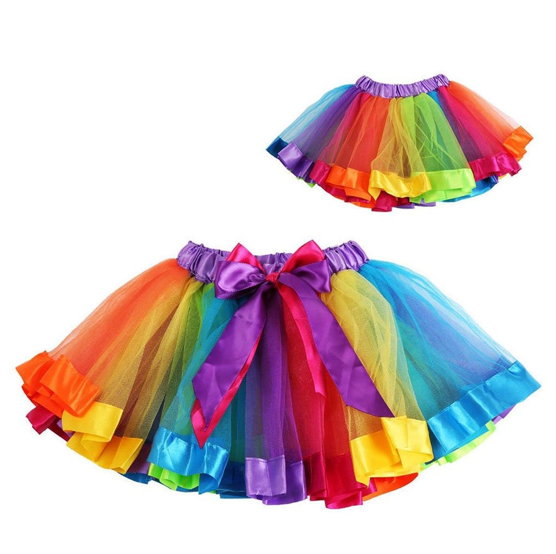 Phenovo Kids Handmade Colorful Tutu Skirt Girls Rainbow Tulle Mini Dress S Amazonin Clothing Accessories