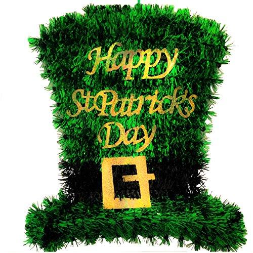 Happy St. Patrick's Day Tinsel Leprechaun Top Hat Hanging Decoration