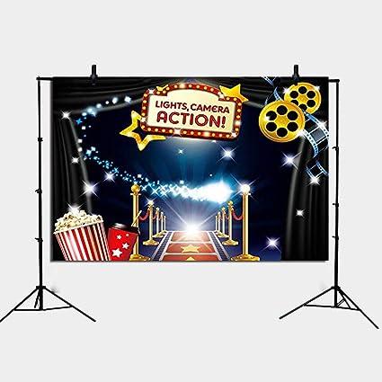 Hollywood - Popcorn Tema de la película Fotografía Telón de fondo Fondo de cumpleaños Marquee Alfombra roja Celebridad Banner Photobooth Decoraciones ...