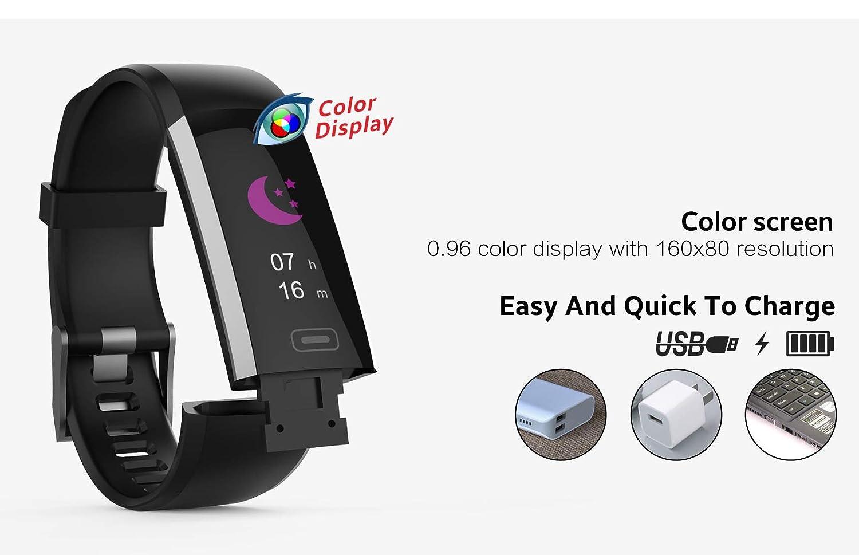 PRIXTON AT800 - Pulsera de Actividad con Bluetooth 4.0, Pulsómetro Dinámico, Medidor de Tensión y Oxígeno en Sangre, Color Negro