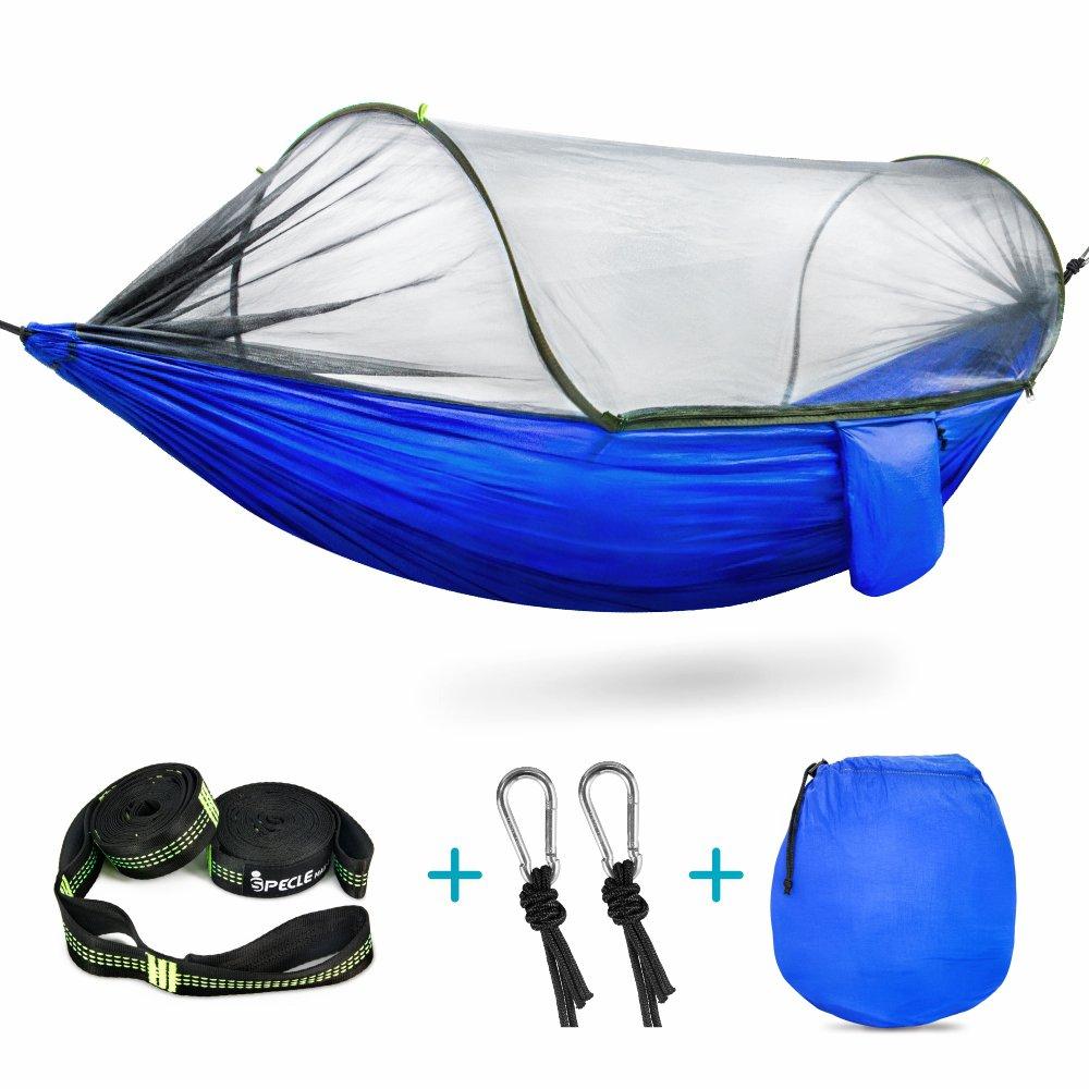 Camping Hängematte, iSPECLE Hängematte mit Moskitonetz, Nylon leicht tragbar, faltbare Hängematte, für Outdoor und Indoor Aktivitäten.