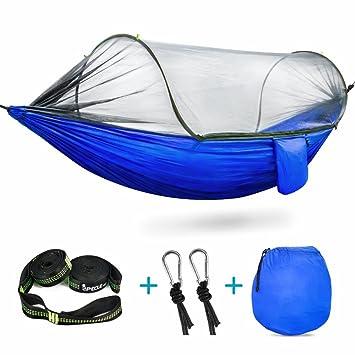Hamaca con mosquitera (para acampada, fabricada en nailon, plegable y portátil), 01 Blue: Amazon.es: Deportes y aire libre