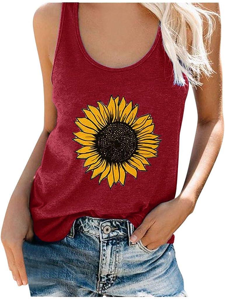 Liuxuelifg3 Womens Summer Sleeveless Tops Casual Tank Top Plus Size Sunflower Print Vest T Shirt Blouse Tank Shirts