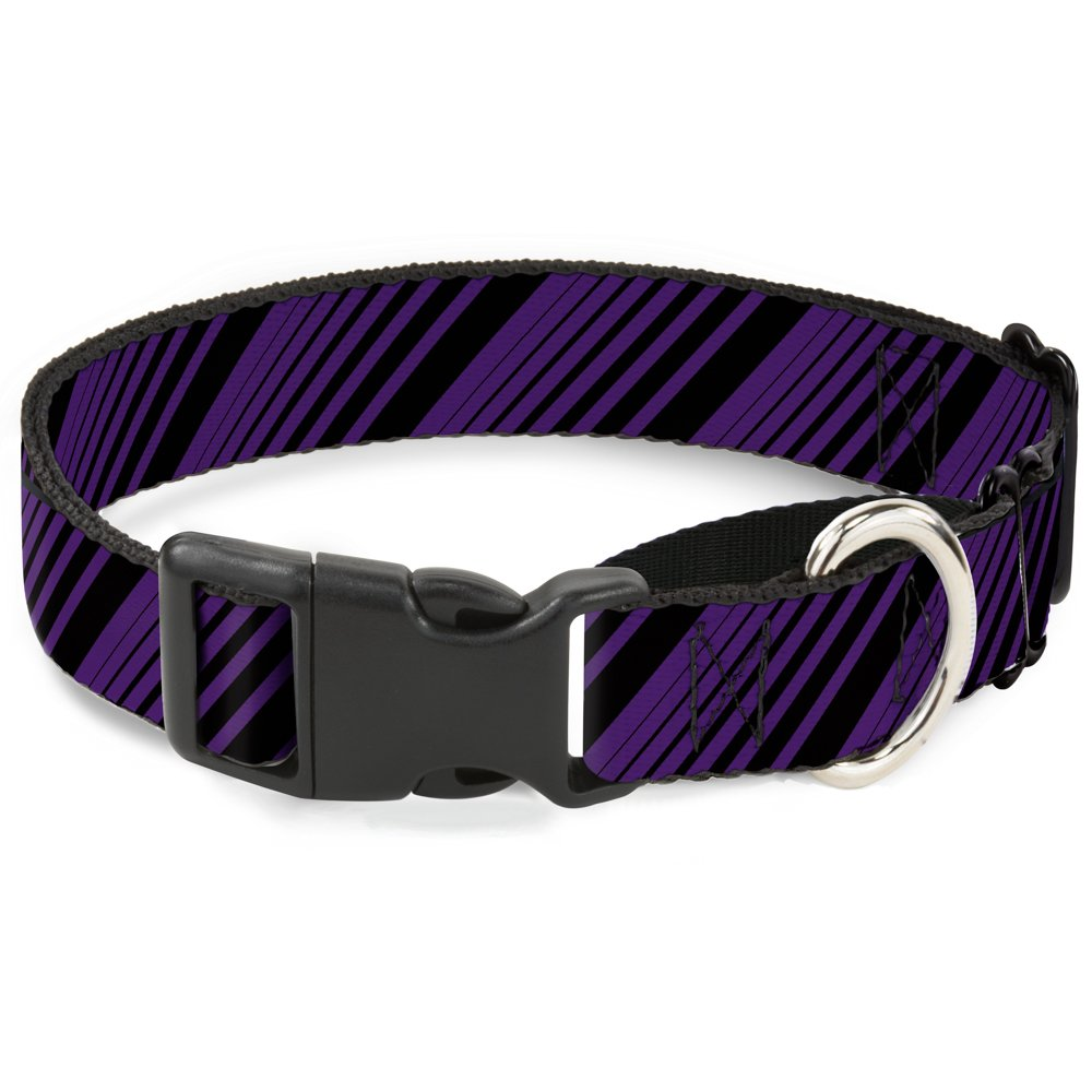 Buckle-Down Diagonal Stripes Black Purple Martingale Dog Collar, 1.5  Wide-Fits 13-18  Neck-Small