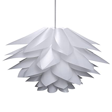 Lampwin Ceiling Pendant Lights DIY IQ Jigsaw Puzzle Lotus Flower Lamp Shade  Kit Chandelier 53CM/