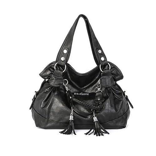 955c64d01b Hynbase Retro Casual Women Tote Handbag Tassel Bag Shoulder Bag Black