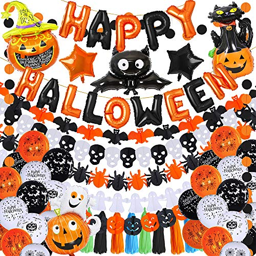 Party Balloon Packages (SUPLA 45 Pack Halloween Balloons Party Decorations Kit Happy Halloween Balloon Banner Latex Balloons Star Pumpkin Bat Ghost Mylar Balloons Paper Garlands Tissue Tassel Garland Circle Dots)