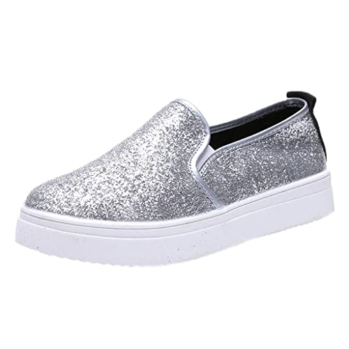 SOLELING Womens Loafer Glitter Shoes Fashion Metallic