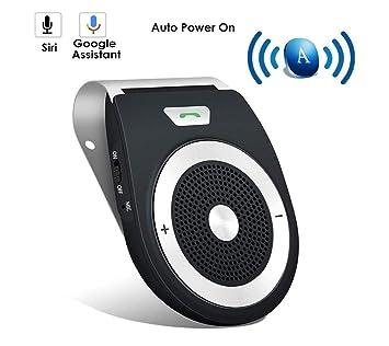YUNJIN Manos Libres Bluetooth 4.1 Coche Kit, reducción de Eco y Ruido de Fondo para la Visera Soporta GPS,Universal, Música, Altavoz Inalámbrico para ...
