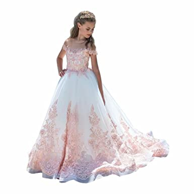 828bb3916d2 Angel Dress Shop White Fancy First Communion Dress for Girls Pageant Dresses  Kids Ball Gown with