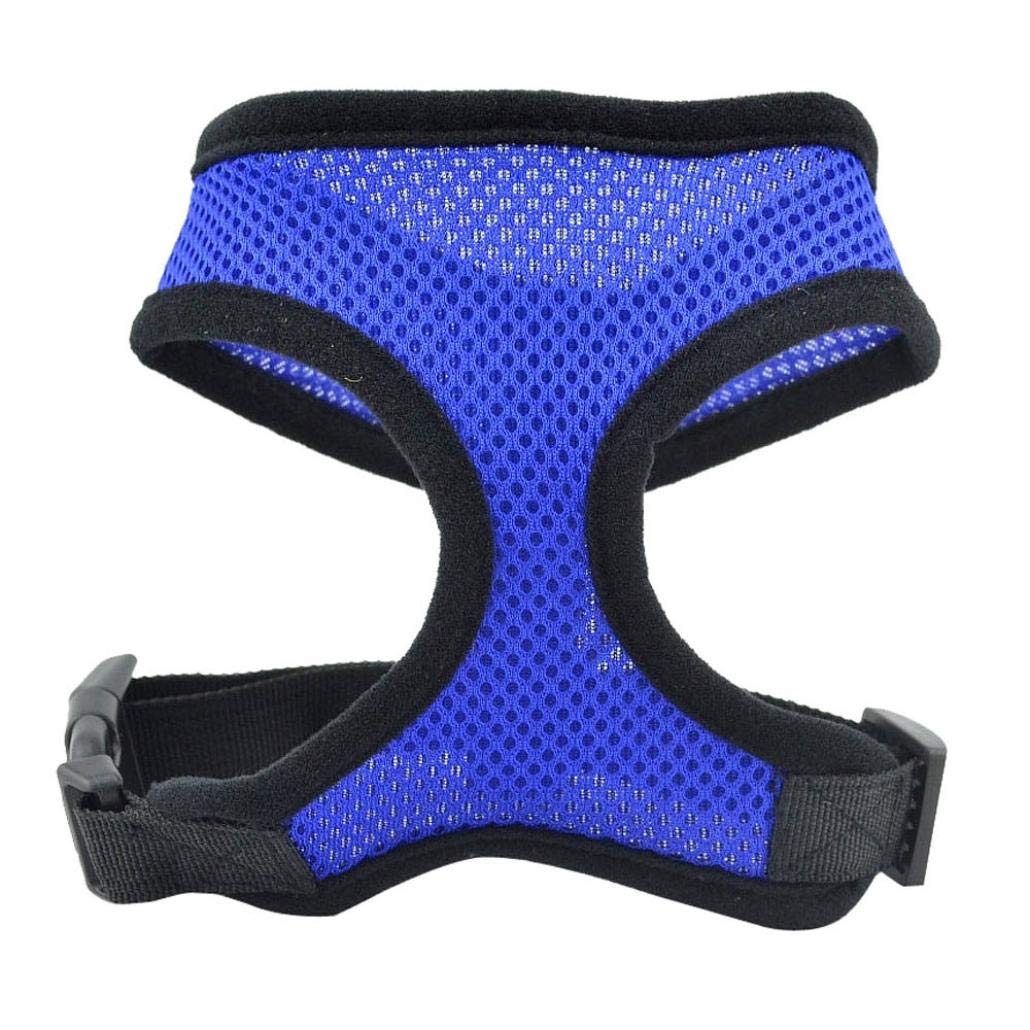 Dog Pet Vest,Soft Mesh Dog Harnesses Padded Vest Comfort Double Layer Harness Pet Puppy Strap Leash Collar (Blue, M)