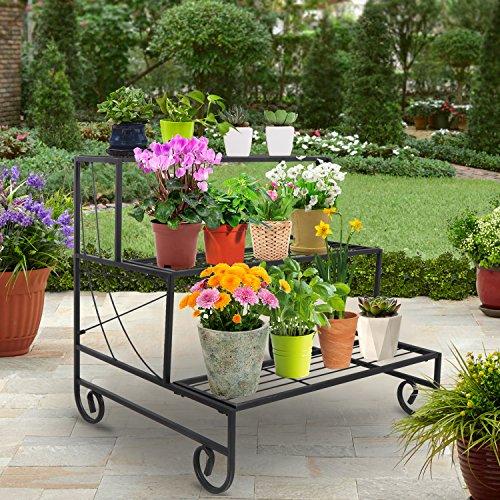 ZENY 3 Tier Metal Plant Stand Indoor Outdoor Flower Pot Rack Stair-Step Style Planter Storage Didsplay Shelf ()