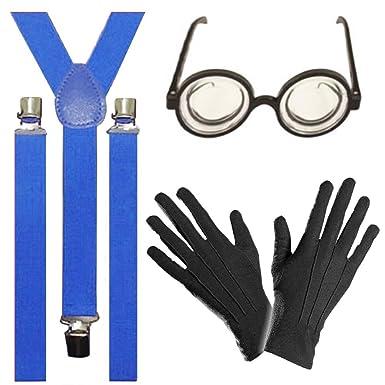 Fancy Dress Minions Braces Glasses Gloves Kit 3pc Goggle Despicable Yellow Set