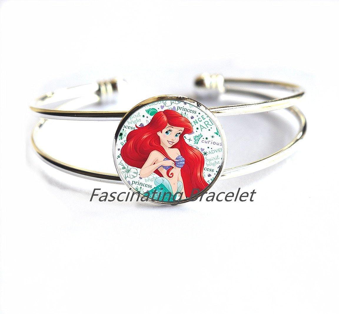 Mermaid Bracelet Round Glass Bracelets Jewelry Mermaids Braceletss Bracelets Gifts Women,Art Bracelets Mermaid Jewelry,AQ109