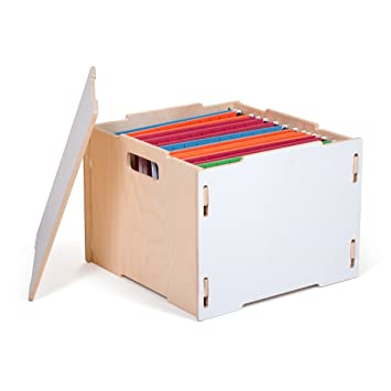 modern white wooden hanging file boxes american made by sprout - Hanging File Box