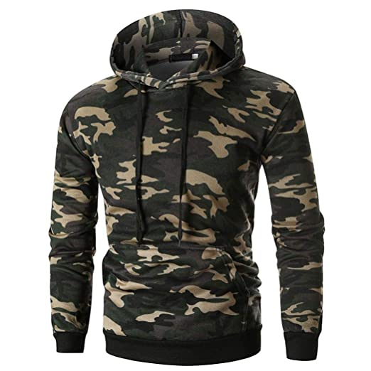Mens Camo Pullover Hoodie Camouflage Hooded Sweatshirts with Kangaroo Split  Pocket (M 7a48737a3b5