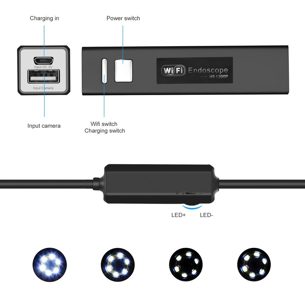LESHP USB Endoskopkamera 2.0 Megapixel 1080P HD Inspektionskamera Wasserdichte Sanit/är Schlange Kamera mit 8 LED-Leuchten f/ür IOS Android Smartphone,Tablette WiFi Kabellosses Endoskop 5 Meter