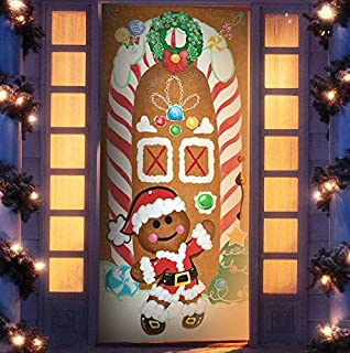 joiedomi christmas ginger bread house window door cover holiday house decoration 72x30 inches - Gingerbread Christmas Yard Decorations