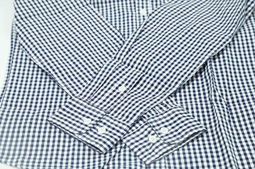 NUTEXROL Men Plaid Cotton Casual Slim Fit Long Sleeve Button Down Dress Shirts Navy XXX-Large