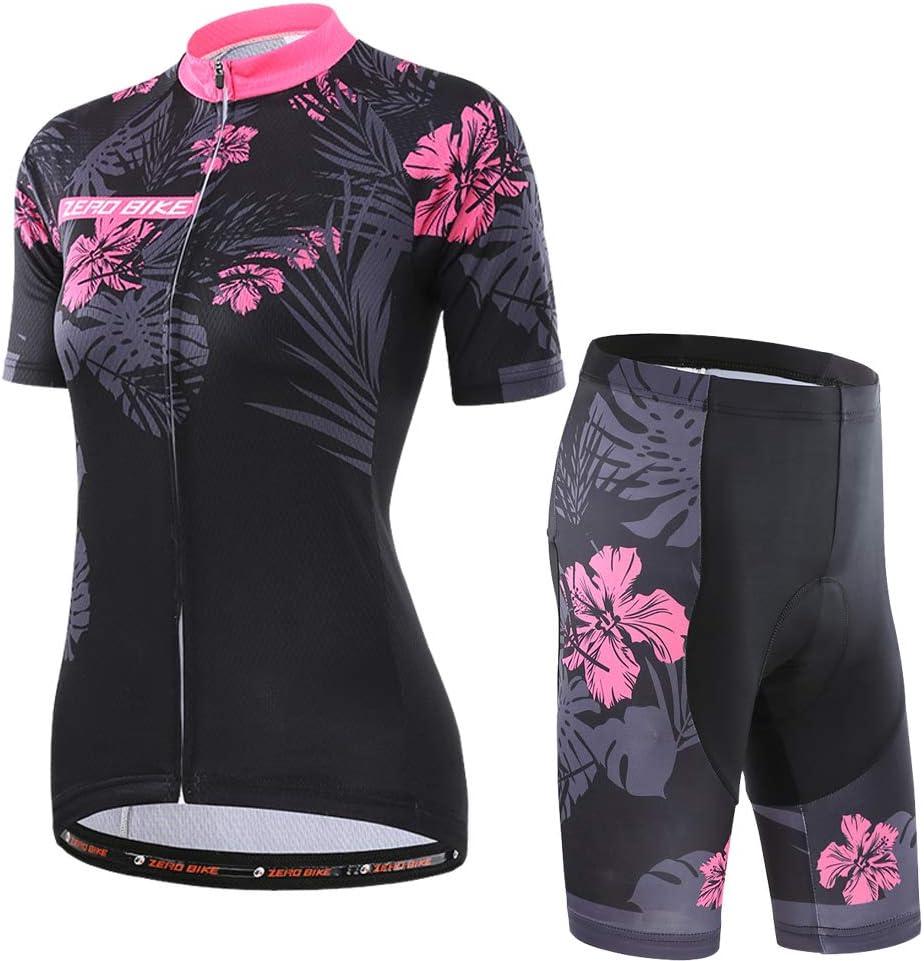 Conjunto Ropa Al Aire Libre Transpiraci/óN para La Bicicleta ZEROBIKE Kit de Manga Corta Jersey de Ciclo Bici del Camino para Mujer
