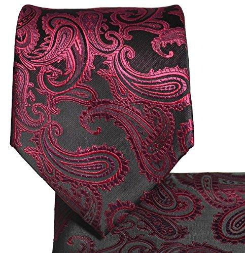 Men's Paisley Necktie Set (Burgundy/Black) #600-U