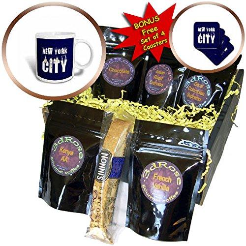 3dRose Alexis Design - American Cities - Elegant text New York City, landmarks, shining windows on blue - Coffee Gift Baskets - Coffee Gift Basket (cgb_286455_1)