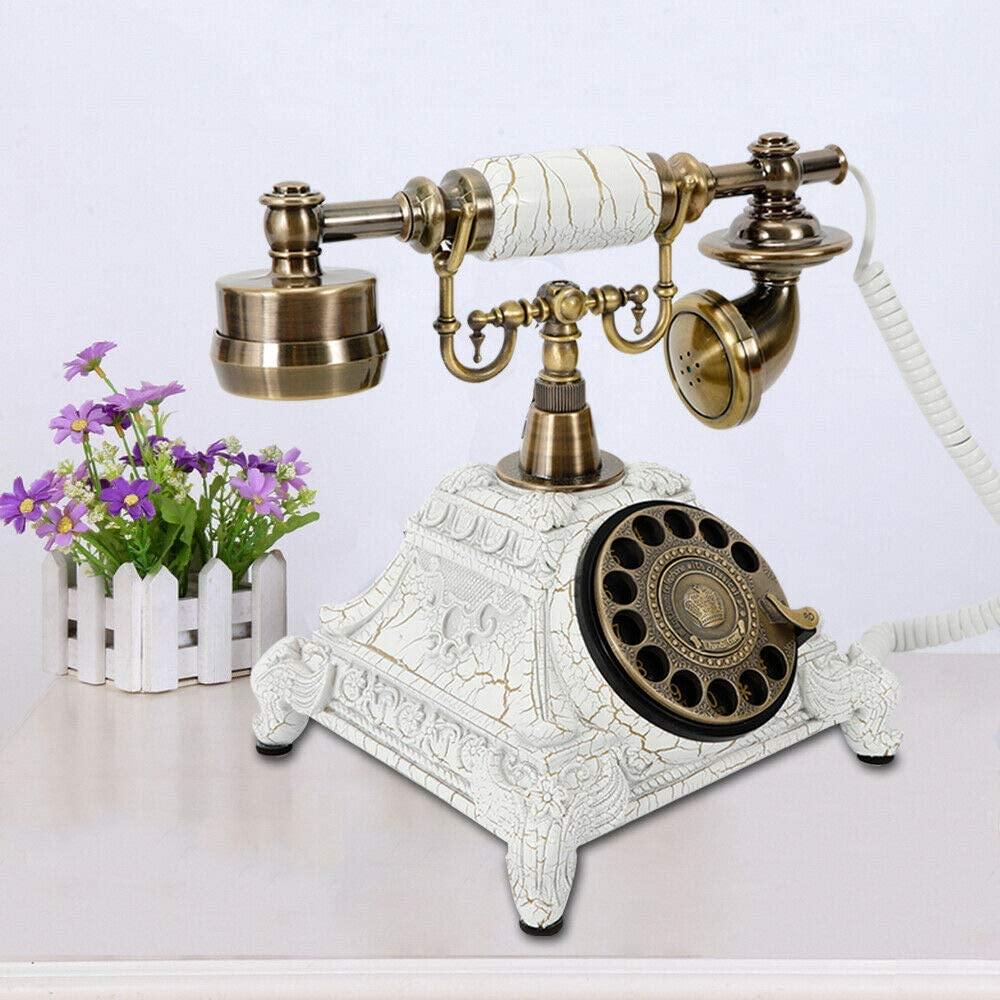 Gdrasuya10 Vintage Phone Rotary Dial Retro Old Fashioned Landline Telephone for Home Office Cafe Bar Decor