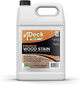 #1 Deck Premium Semi-Transparent Wood Stain for Decks, Fences, Siding - 1 Gallon (Driftwood Gray)