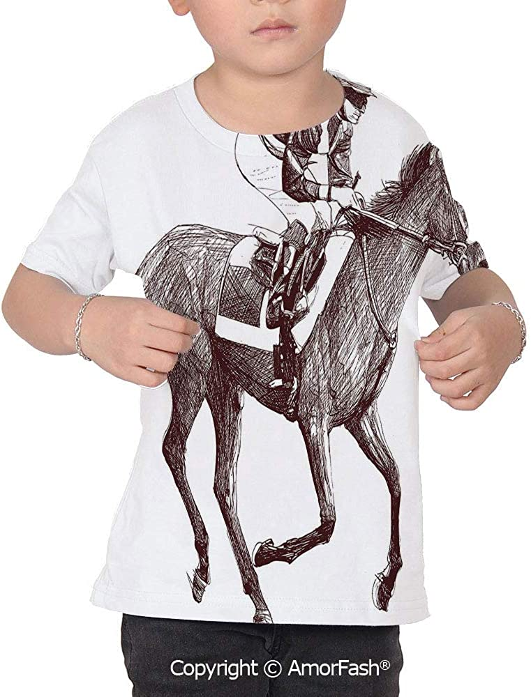 Horse Decor Childrens Classic Basic Printed Ultra Comfortable T-Shirt,Sketchy