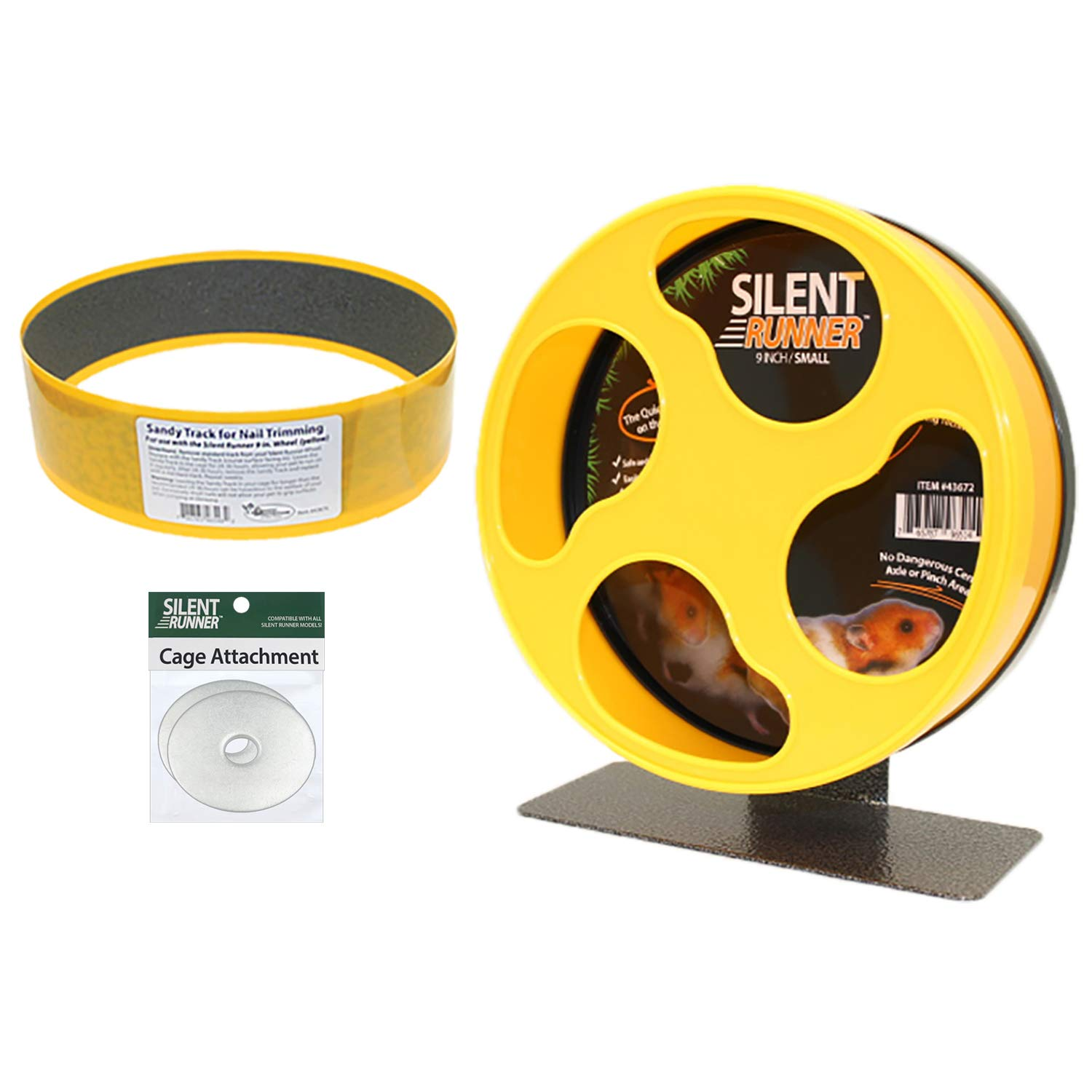 Silent Runner 9'' + Sandy Track + Cage Attachment - Pet Exercise Wheel Package Set - For Robo Hamsters, Syrian Hamsters, Teddy Bear Hamsters, Dwarf Hamsters, Gerbils, Mice And Other Small Pets by Exotic Nutrition