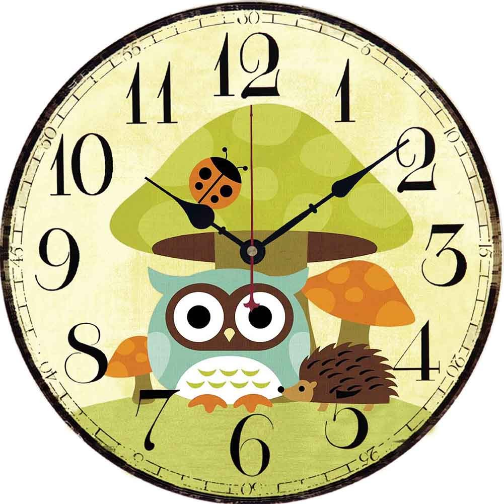 Yesee Wood Wall Clock, Retro Style Non -Ticking Silent Quiet Wooden Clock, Decorative Wall Clock for Living Room, 12-inches (12 inches, Big Mushroom)