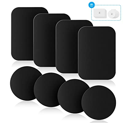 Mount Metal Plates with Protective Films, 8 Pack Universal Metal Disc for Phone Magnetic Car Mount Replacement Sticker, 8 Black Metal Plates and 8 Clear Films