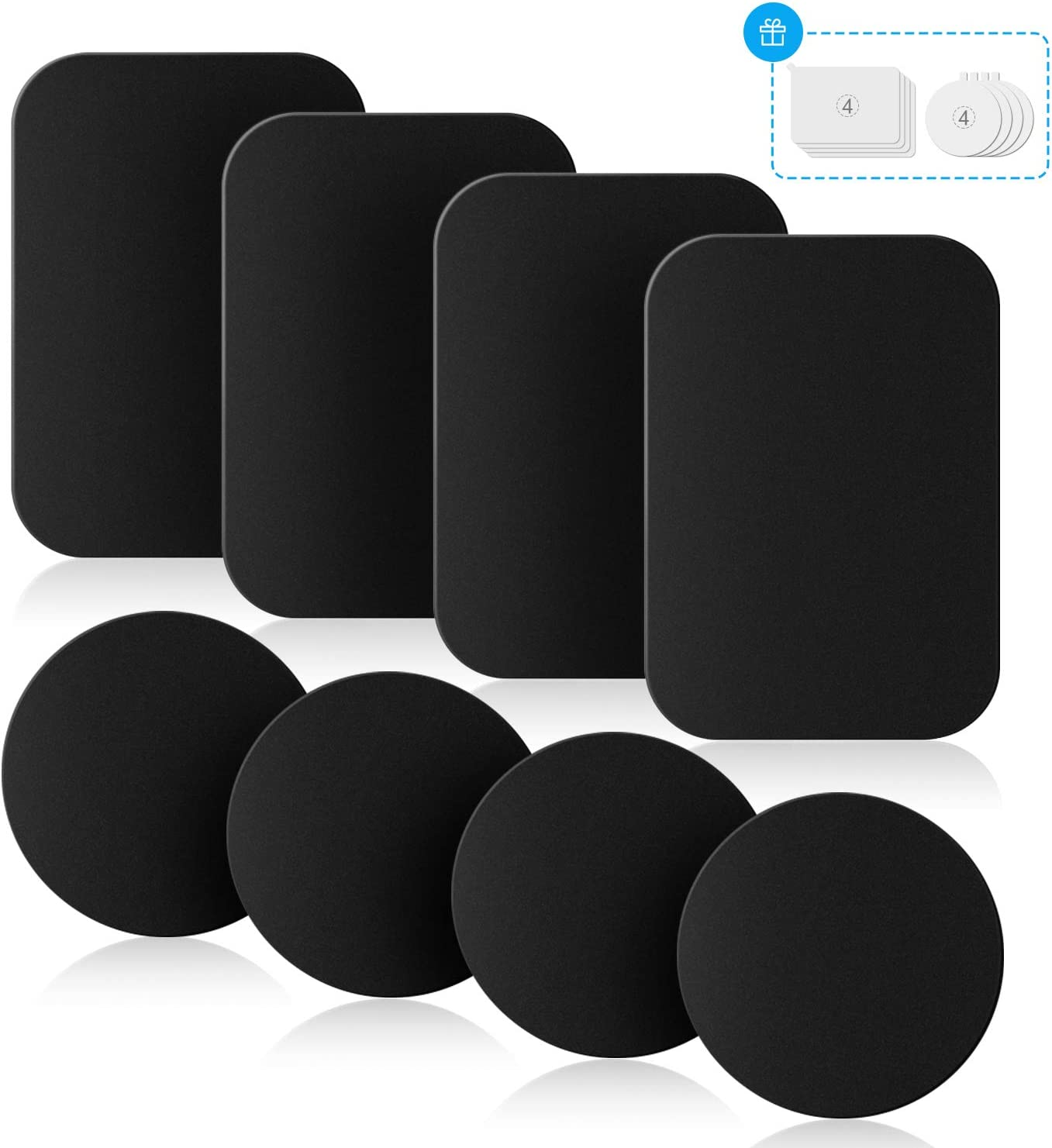 8 Pack Universal Metal Disc for Phone Magnetic Car Mount Replacement Sticker 8 Black Metal Plates and 8 Clear Films Mount Metal Plates with Protective Films