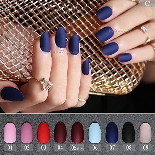 24Pcs Matte False Nails Long Round Soft Pink Color Red Oval Head Blue Frosted Fake Nail Vampire Mint Candy Purple Black -