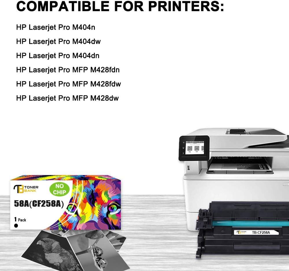 Toner Bank Compatible Toner Cartridge Replacement for HP 58A CF258A CF258X 58X HP Laserjet Pro M404n M404dn M404dw MFP M428fdw M428fdn M428dw M404 M428 Printer Ink No Chip Black,1-Pack